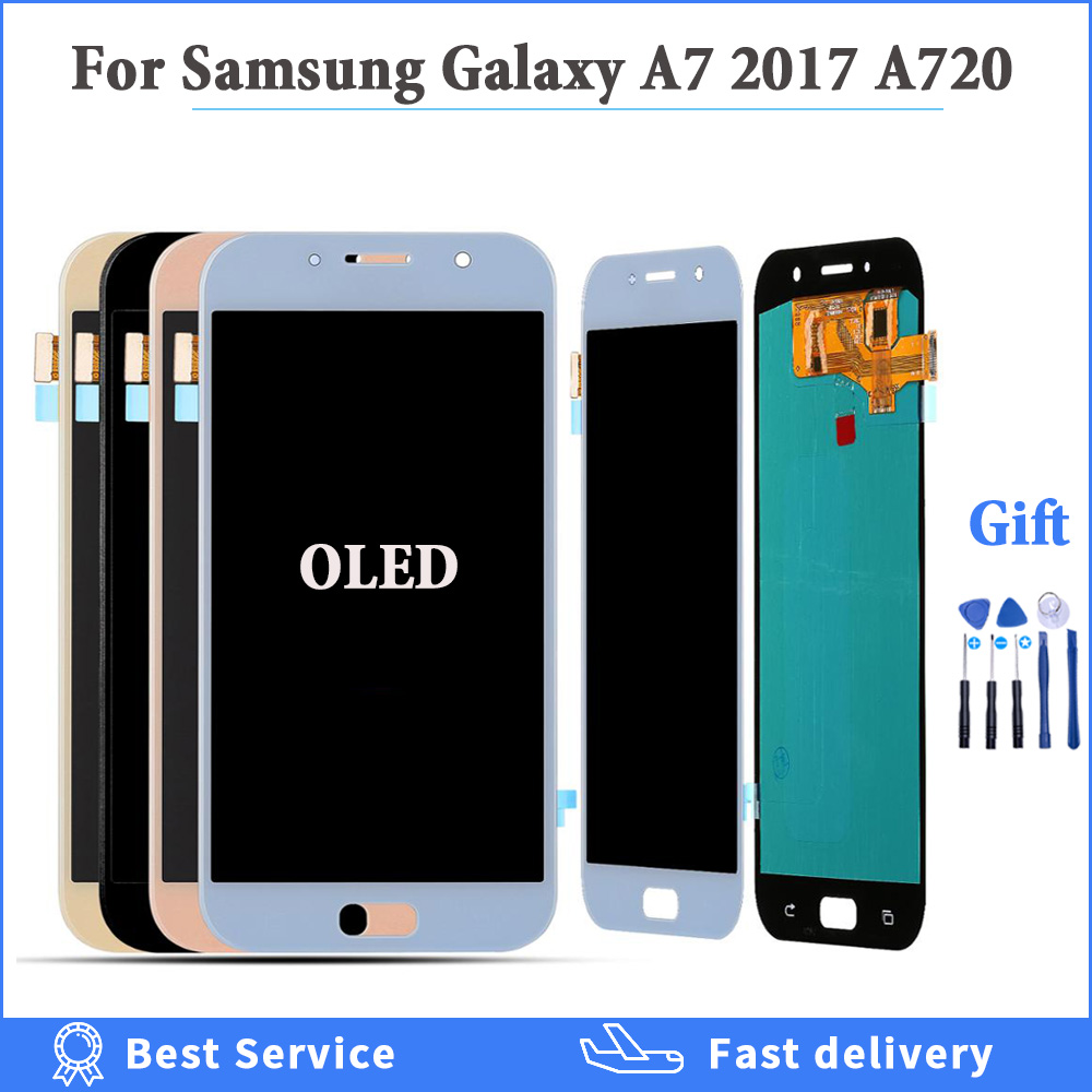 100% Tested OLED <font><b>LCD</b></font> Display For <font><b>Samsung</b></font> Galaxy A7 2017 <font><b>A720</b></font> A720F A720M LCDs Touch Screen Digitizer Assembly <font><b>LCD</b></font> Replacement image