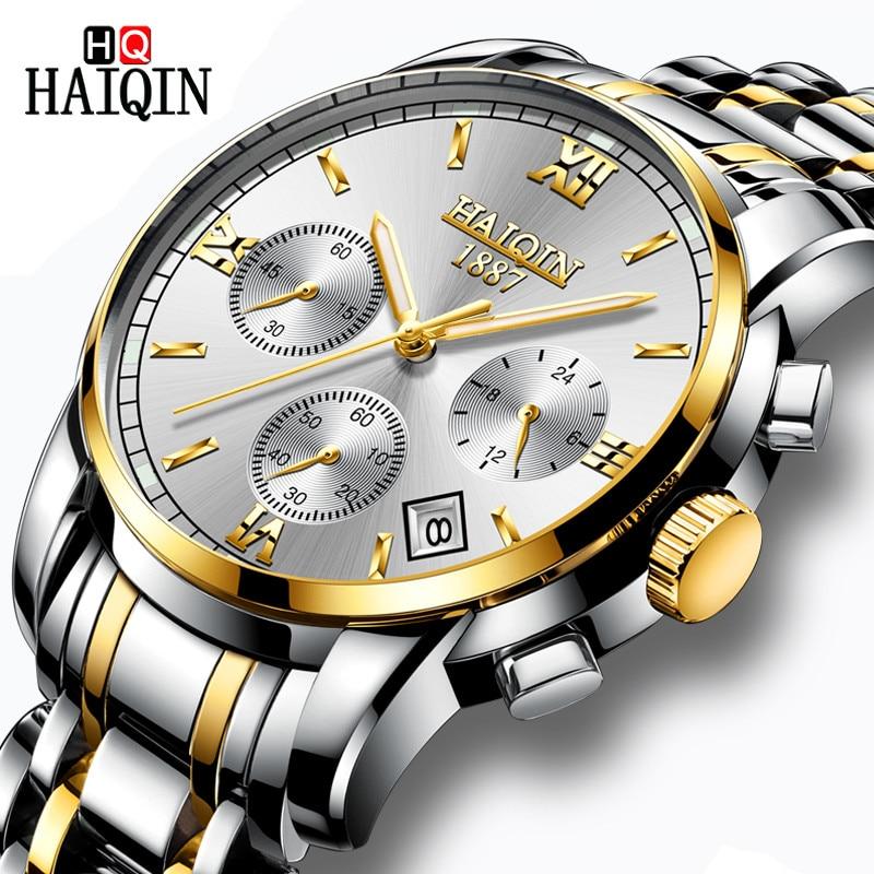 HAIQIN Relógios dos homens Nova Marca De Luxo Militar Homens Relógio Cronógrafo de Aço inoxidável Relógio de Quartzo Moda Masculina Relogio masculino