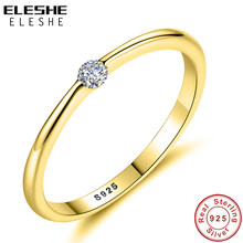 ELESHE Simple Round Cubic Zirconia Ring 925 Sterling Silver Finger Rings for Women Authentic Jewelry Wedding Engagement Gift(China)