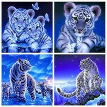HUACAN Diamond Painting New Animal 5D DIY Diamond Embroidery Cross Stitch Tiger Pictures Of Rhinestones Mosaic Craft Kit