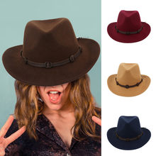 Classique couleur unie feutre Fedoras chapeau pour hommes femmes mélange de laine artificielle Jazz casquette large bord Simple église Derby chapeau haut de forme # P30(China)