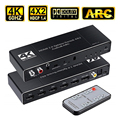 4x2 HDMI 2.0 Audio & ARC Switch 4 in 2 out HDMI Switcher Splitter with 3.5mm L/R Coaxial Optical Port with IR Remote Control