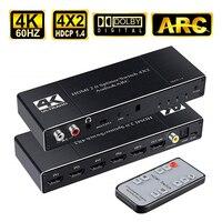 Conmutador de Audio y arco 4 en 2, HDMI 2,0, 4x2, divisor con puerto óptico Coaxial L/R de 3,5mm, con Control remoto IR