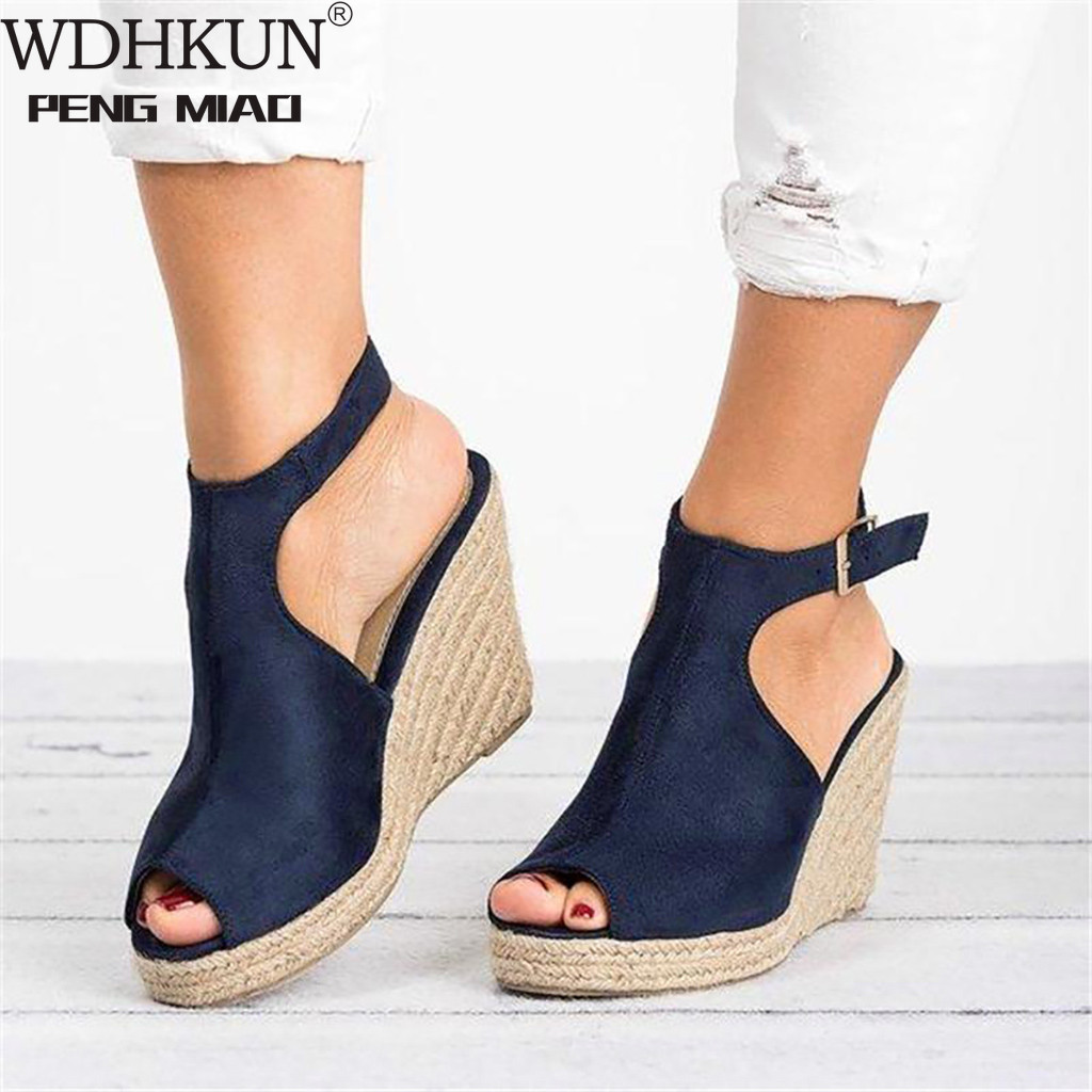 Plus Size 35-43 Platform Sandals Wedges Shoes For Women Heels Sandalias Mujer Summer Clog Womens Zapatos De Hombre E12