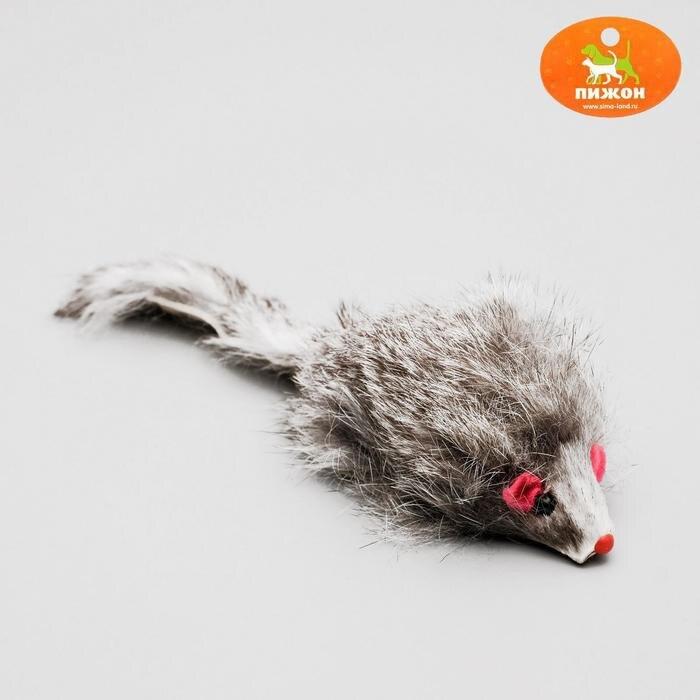 Мышь из натурального меха, 7,5 см, темно серая