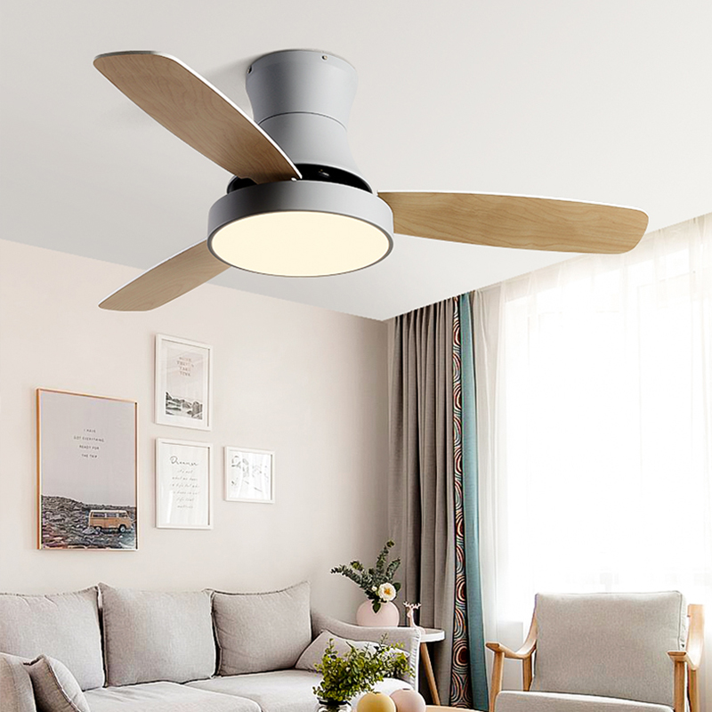 BTX Low Floor With Electric Fan  Nordic Celling Fan Lamp Dining Room Living Room  Wood Simple Suction Ceiling Off Fan Lamp