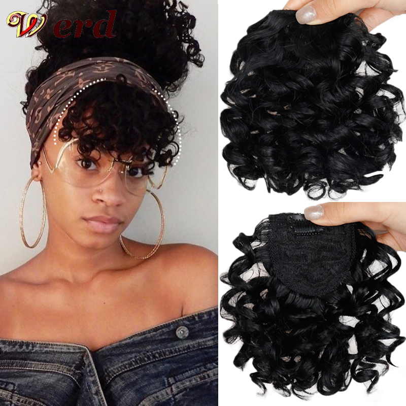 WERD Curly Fake Bangs Hair Clip Natural Synthetic Black Brown Hair Extension Piece For Natural Hair Bangs Hair Extension