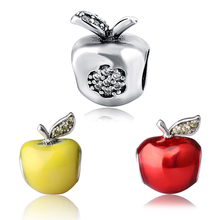 red apple yellow apple Charms 925 original silver color Beads with enamel CZ Fit Authentic pandora bracelet jewelry wholesale christmas trees red apple crystal cz 925 bracelet