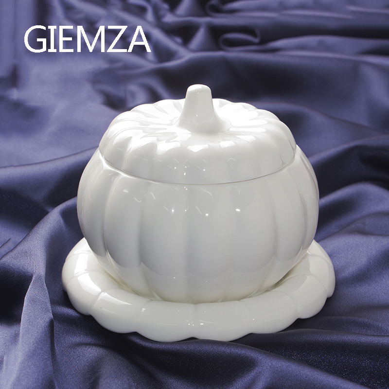 GIEMZA White Pumpkin Bowl with Lid Jingdezhen Ceramics Alien Stew Pot Jar Mini Can for Soup Container Sauce Boat image