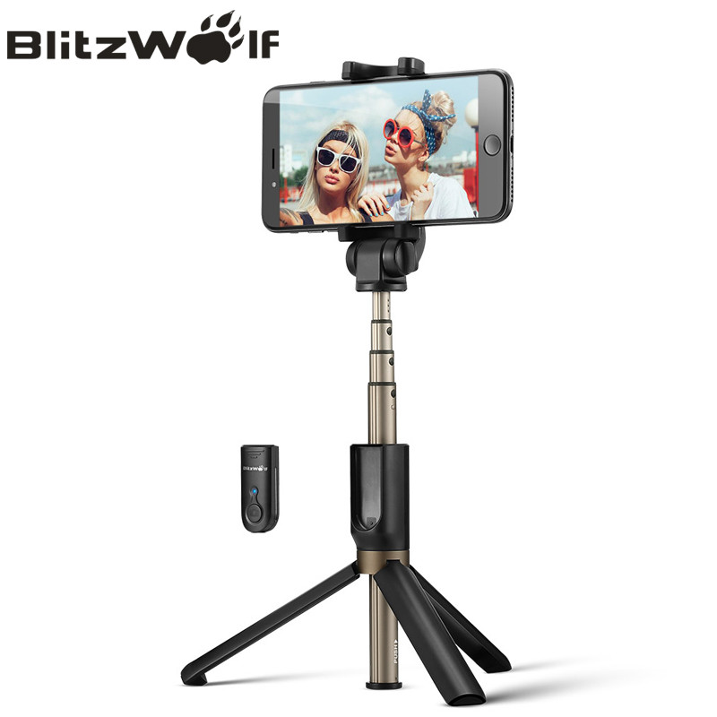 BlitzWolf Universal Sem Fio bluetooth Selfie Stick Mini Tripé Extensível Dobrável Monopod Live Stream Travel Para iPhone 11 Pro X XR 8 Para Samsung Xiaomi 9 Huawei P30 Pro Smart Phone