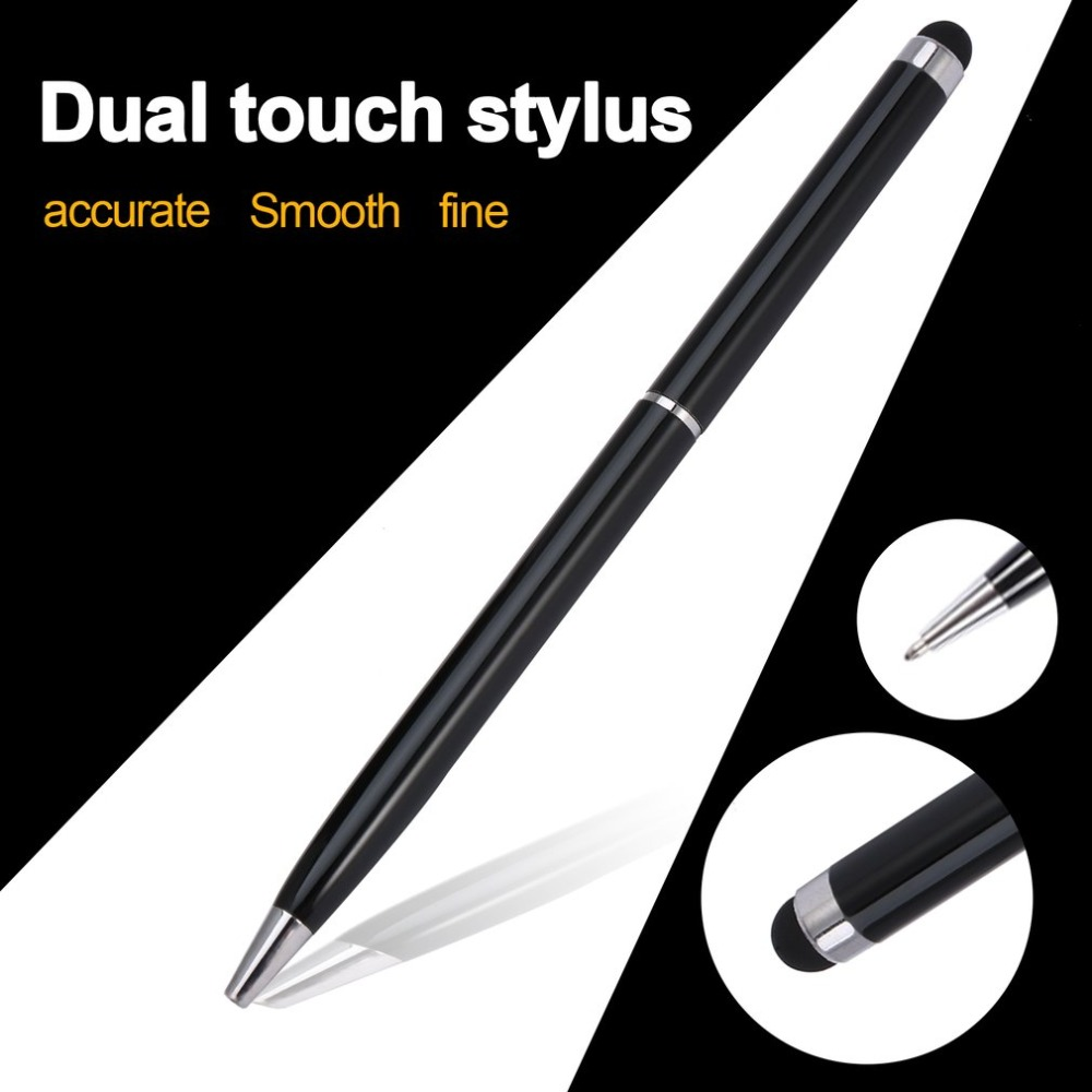2 In 1 Universal Stainless Steel Stylus Pen For IPad For IPhone For IPod Capacitive Crystal Touch Screen Stylus & Ball Point Pen