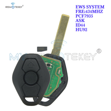 Remtekey remote key HU92 3 button ID44 chip 434mHZ ASK for BMW 3 5 Series 2002 2003 2004 2005 EWS system car key stenzhorn 433mhz remote key fob 3button for bmw ews x3 x5 z3 z4 1 3 5 7 series 2002 2003 2004 2005 with hu92 blade without chip