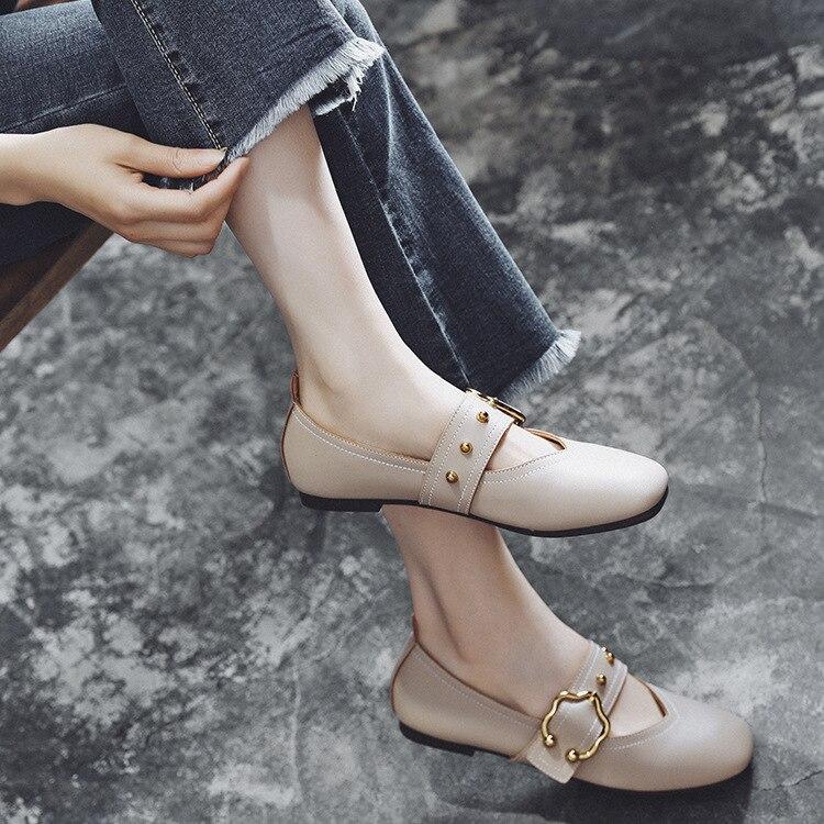 Flat Keel Thin Shoes Women's 2018 New Style Korean-style Grandma Shoes Women's Straight-line Buckle Low-Cut Social Moccosins Fem