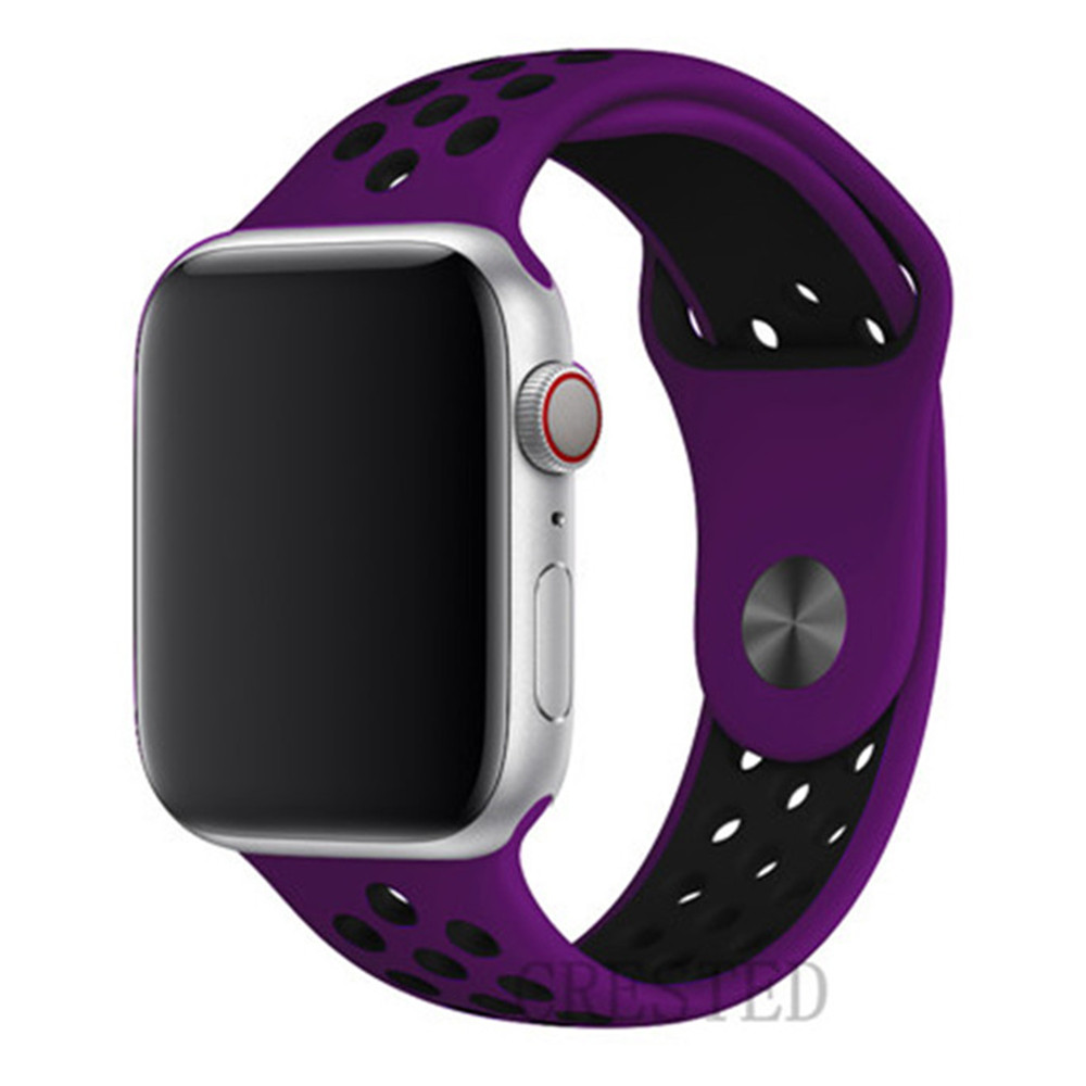 Спортивный ремешок для apple watch band 44 мм/40 мм apple watch 5 4 3 band iwatch band 5 42 мм/38 мм correa браслет ремень аксессуары для часов - Цвет ремешка: NEW purple black