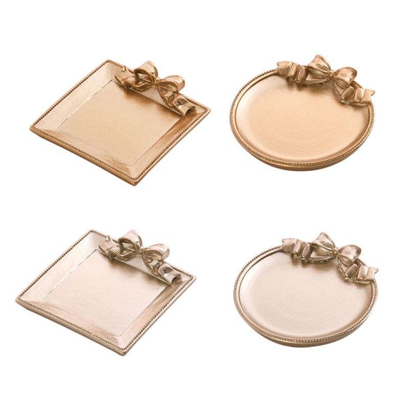 Gold Ceramic Plate Jewelry Tray Jewelry Holder Jewelry Display Ring Dish Organizer For Keys Phone Jewelry Watch Display