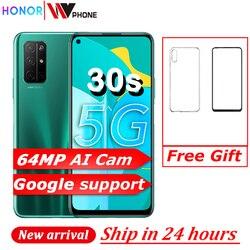 Перейти на Алиэкспресс и купить honor 30s 5g smart phone 6.5 inch fullview display kirin820 soc 64mp quad camera 4000mah 40w supercharge gpu turbo mobile phone