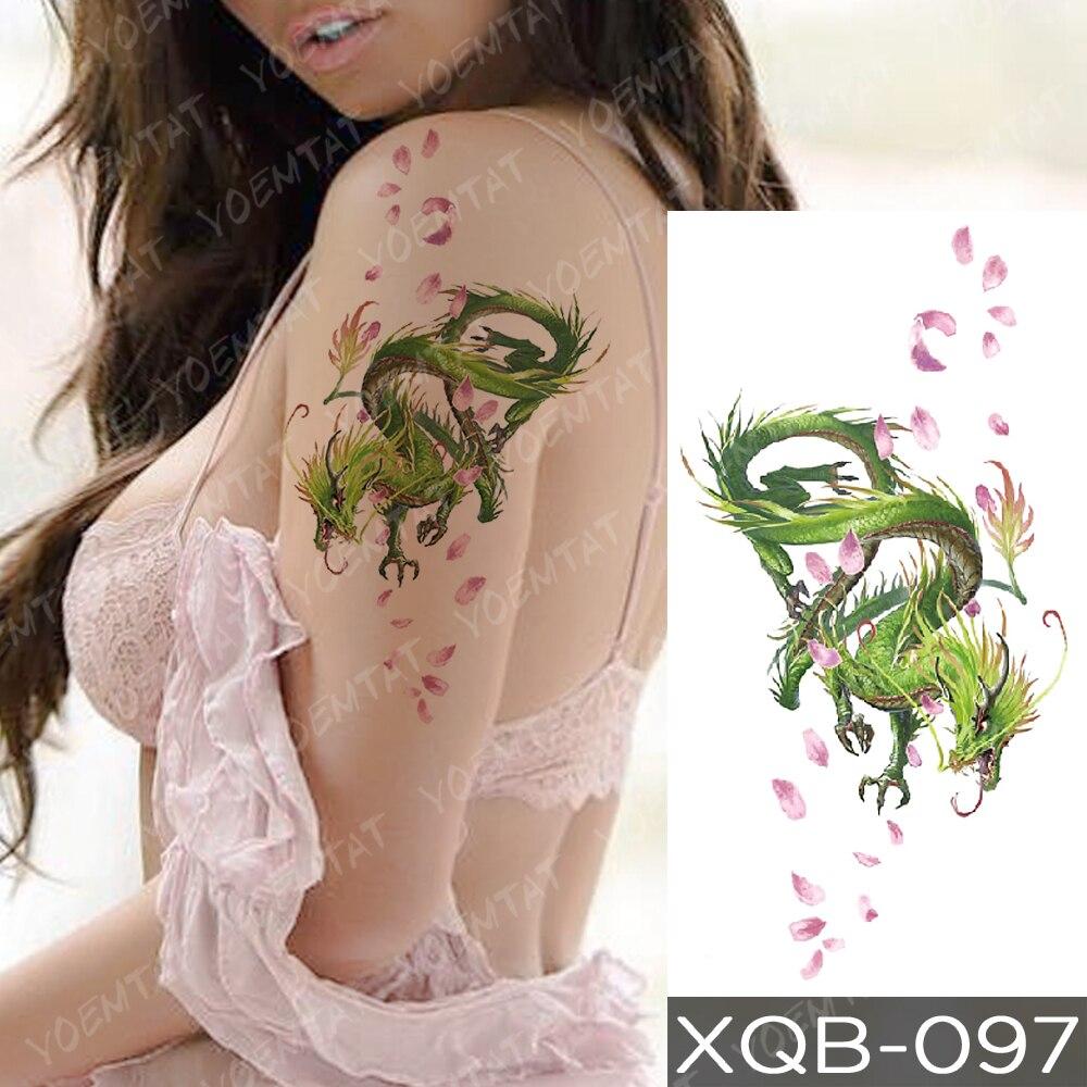 Waterproof Temporary Tattoo Sticker Blue Ice Dragon Plum Blossom Flash Tattoos Family Tree Fox Body Art Arm Fake Tatoo Women Men 2