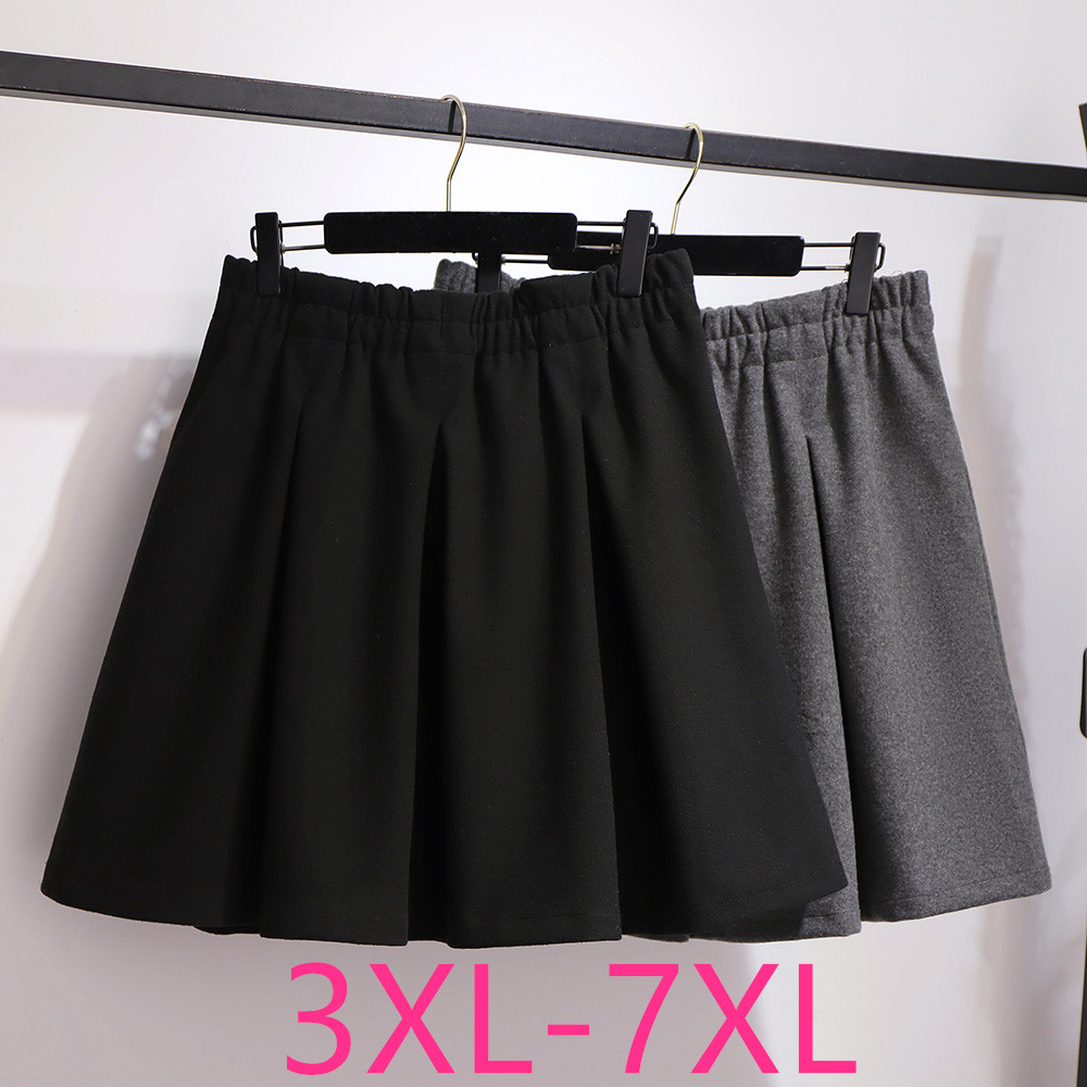 New Autumn Winter Plus Size Mini Skirt For Women Large Casual Loose Elastic Waist Pleated Skirts Black Gray 3XL 4XL 5XL 6XL 7XL