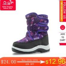 Apakowa inverno à prova dwaterproof água meninas botas de couro do plutônio das crianças sapatos para meninas meados de bezerro quente botas de neve de pelúcia de borracha botas de inverno