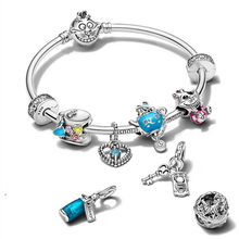 New Alice charms 100% 925 Sterling Silver CZ Mad Hatter Cheshire Cat Beads fit PANDORA Bracelet Birthday Party Teapot Jewelry