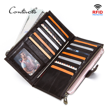 CONTACT'S Casual Travel Wallets Genuine Leather Wallet Men Zipper Coin Pocket Long Purse Passport Cover Male Card Holder Bags