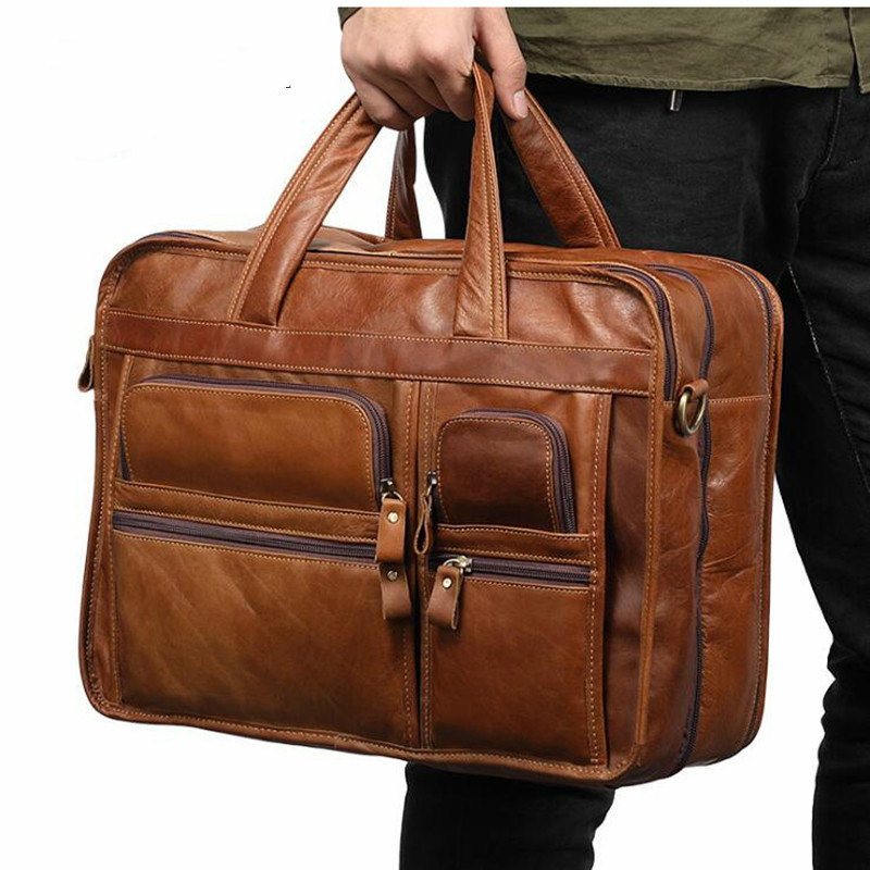 2020 Men Briefcases Genuine Leather Handbag Vintage Laptop Briefcase Messenger Shoulder Bags Men's Multi Pockets Leather Bags