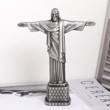 18cm Alloy Statue of Jesus Figurine Art Sculpture Redentor Christian Christ Jesus Metal Statue Crist Model Home Decoration