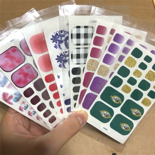 10/20pcs Mixed Designs Full Cover Nail Art Stickers Christmas French Glitter Self-adhesive Decals Slider Wraps Decor Manicure 6