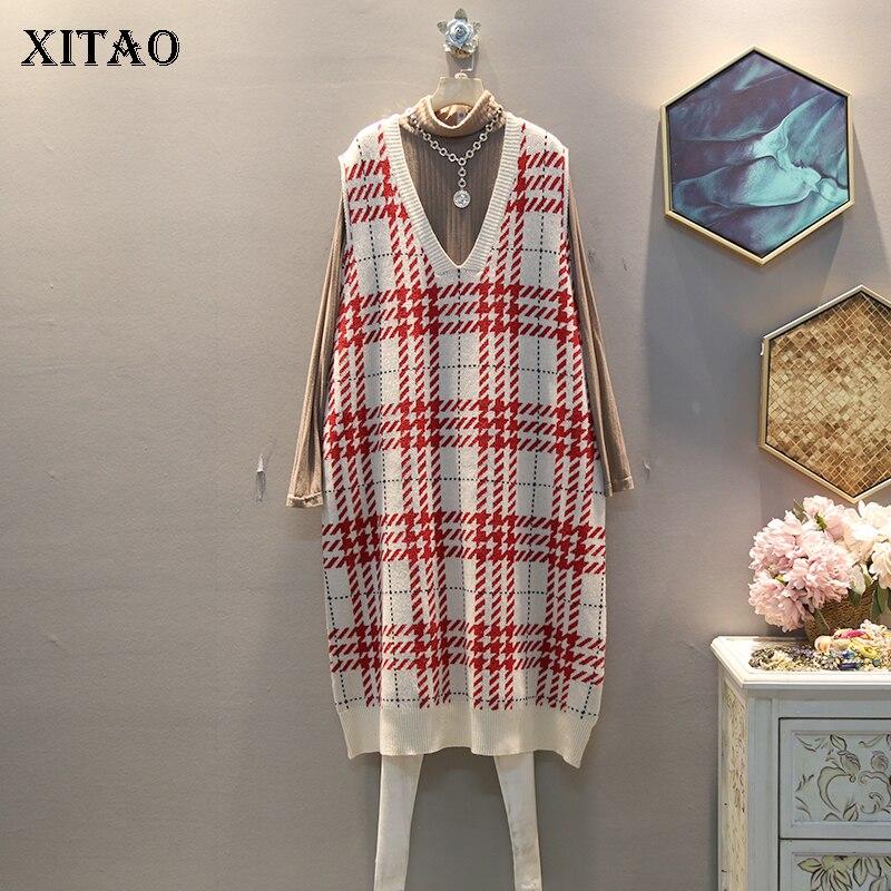XITAO Plaid Straight Casual Knitted Dress Women Sleeveless 2019 Winter Korean New Style Elegant V Neck Collar Loose DMY1324 23
