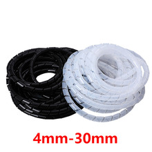 Cable Sleeve Winding Pipe Spiral Wrapping Transparent/Black Wire Organizer Sheath Tube 4-30MM Plastic Tape Management Protector