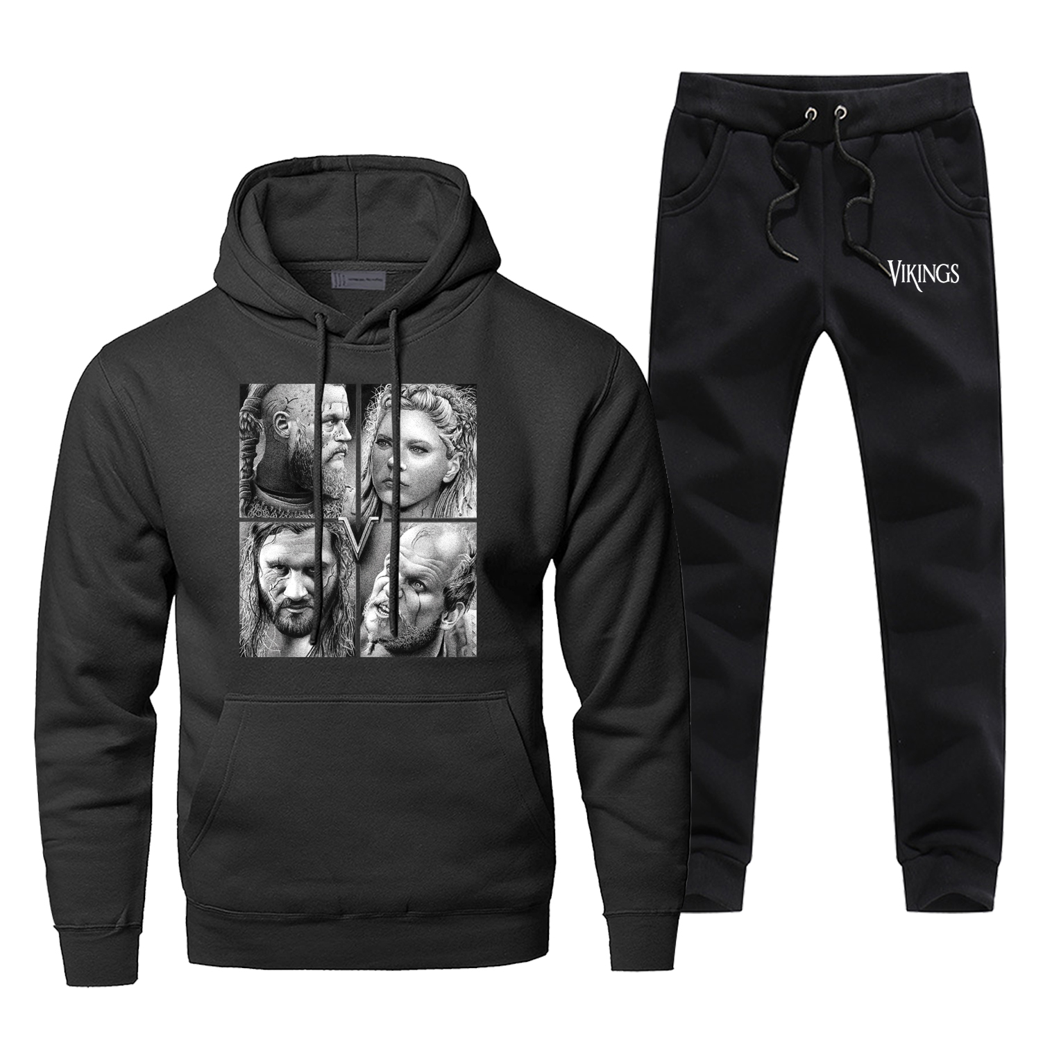 Tv Show Odin Viking Men Hoodies+pants 2Pcs Sets Retro Vikings Tracksuit Men New Fleece Sweatshirt Harajuku Streetwear Sweatpants