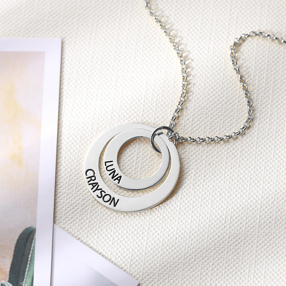 NEW Custom Family Name Round Pendant Necklaces engraved name Circles sterliing silver Necklace for women unisex anniversary gift
