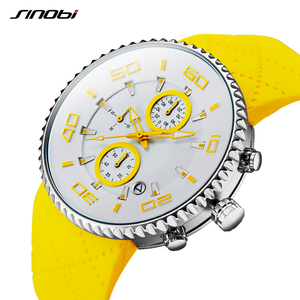 Image 2 - SINOBI Fashion Mens Sports Watches Stopwatch Waterproof Silicone Band Running Chronograph Watch 3 Colors relojes para hombre