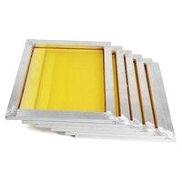 6 Pcs Silk Screen Printing Aluminium Frame Pre Stretched 250M/300M/350M/380M/420M Yellow Mesh for Screen Printing Circuit Board