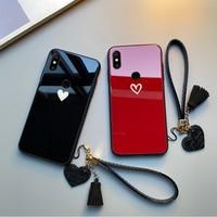 Funda de cristal duro para Xiaomi Redmi Note 7, 6, 5 Pro, Correa libre, color rojo, negro, corazón, para Redmi 7, 7A, 6A, 5A, 5 Plus, 6 Pro