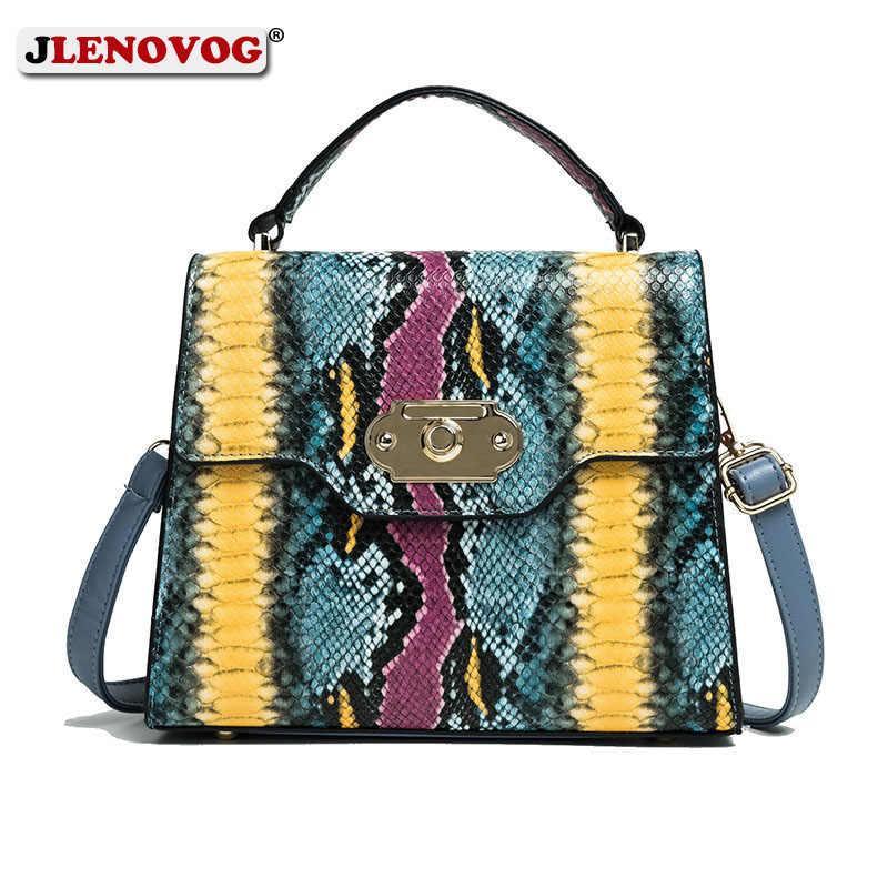 Female Small Messenger Handbag Women Tote Bag Faux PU Leather Colorful Snake Skin Bag Square Shoulder Python Bags for Women 2019
