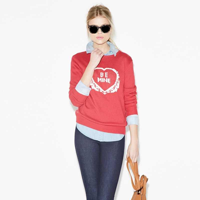 European And American-Style Fashion Playful Lovely Be Mine Lettered Jacquard Sweater Loose-Fit Ribbed Pattern Sweater