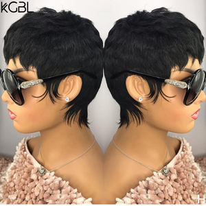 KGBL13*4 Natural Color Pixie Cut Lace Front Human Hair Wigs With Baby Hair Brazilian Non-Remy 8'' 150 180 Density Medium Ratio(China)