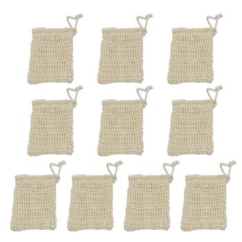 10 Pack Sisal Soap Bag Natural Soft Exfoliating Mesh Soap Bar Pouch Saver Holder