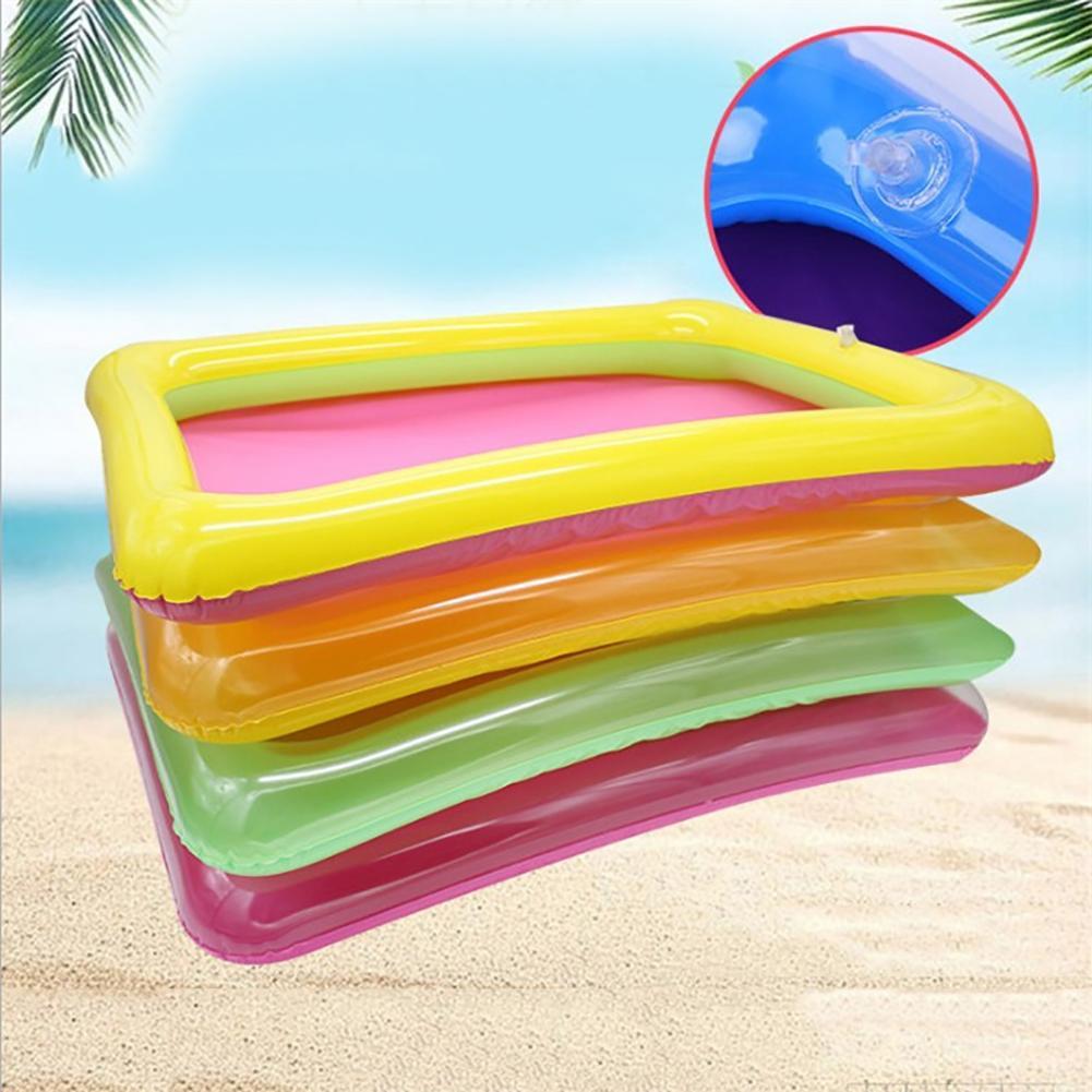 Kids Sandbox Toy Portable Multicolor Inflatable PVC Sandbox Plate Beach Playing Tray Kids Toy Random Color