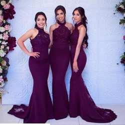 Vestidos Damas Honor шифоновые платья русалки для подружки невесты Холтер шеи в пол без рукавов недорогое свадебное торжество платье
