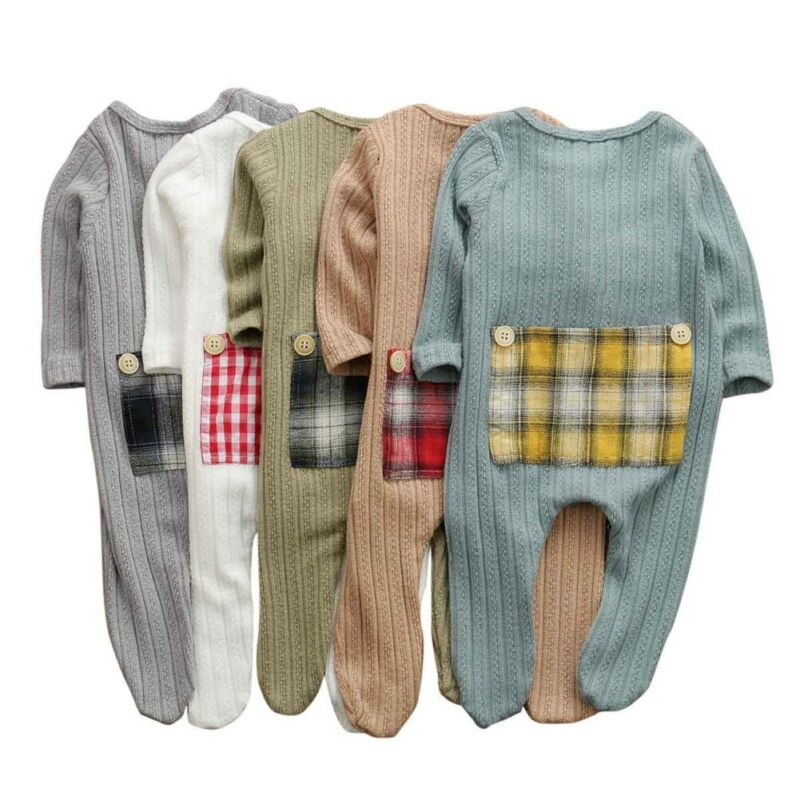 Newborn Baby Boy Girl Long Sleeve Patchwork Cotton Romper Jumpsuit Playsuit One Pieces Baby Clothes 0-9M