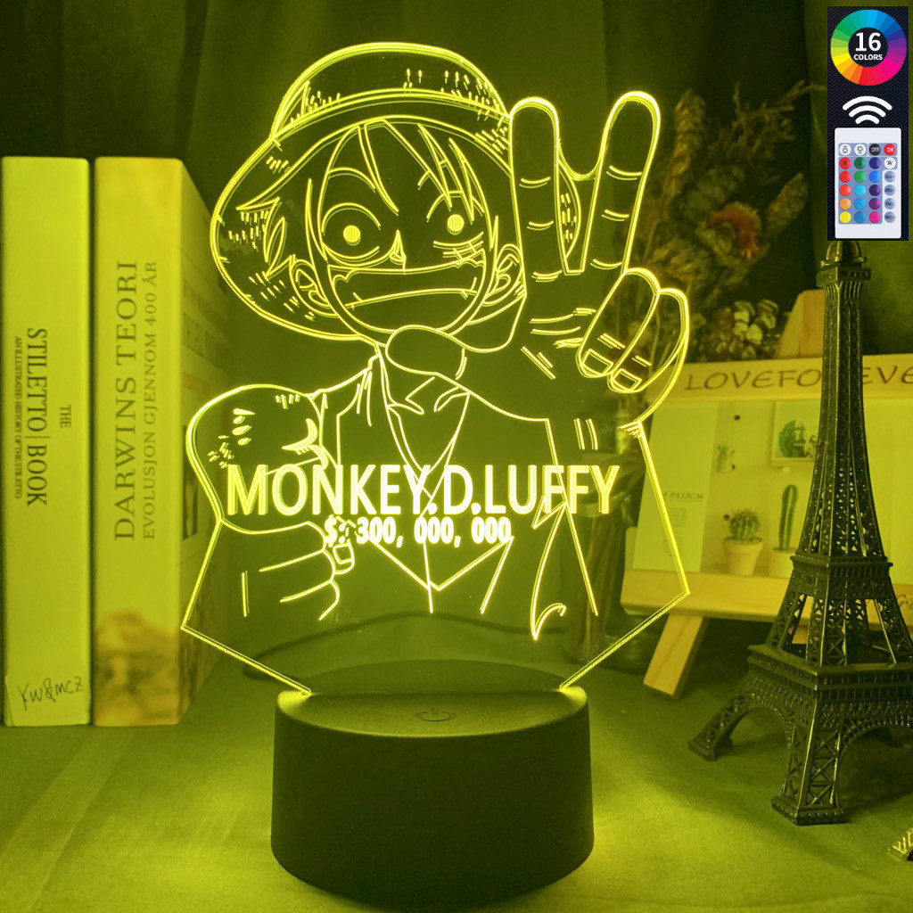 Anime ONE PIECE Monkey D Luffy Figure Kids Night Light Led Color Changing Atmosphere For Child Bedroom Bedside Decor Desk Lamp