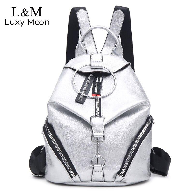 Women Zipper Backpack Female Leather Backpacks For Teenage Girls Bucket Bagpack Anti Theft Bag Silver Rugzak Mochila XA578H