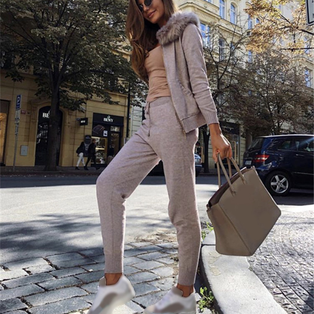 PUIMENTIUA Fashion Knitted Suit Women Street Style Hooded Tracksuits Zip Up Cardigans And Drawstrings Elastic Pant Two Piece Set
