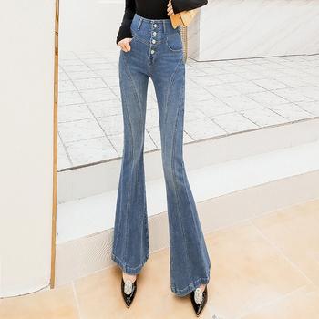 Dżinsy z wysokim stanem damska jesień w nowym stylu koreański jeansy rozkloszowane spodnie slim spodnie damskie dżinsy kobieta dżinsy dla kobiet dżinsy dla mamy tanie i dobre opinie LOW LUV COTTON Poliester Pełnej długości Osób w wieku 18-35 lat 0026 WOMEN Na co dzień Stripe Przycisk fly Spodnie pochodni
