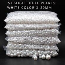 3-20 мм акриловые круглые белые жемчужные амулеты, свободные бусины для изготовления ювелирных изделий, украшения для одежды, головных уборов, обуви, сумок, шляп