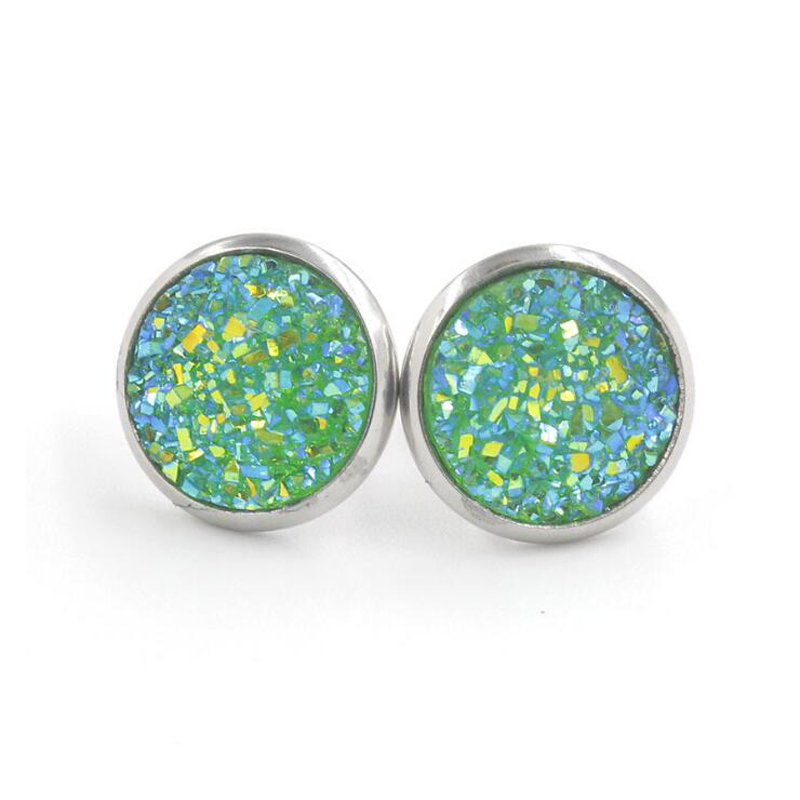 H77baef41505d48adaa8af9391aba0e74a - Fnixtar 12mm 100% Stainless Steel Shinning Resin Stud Earring for Women Top Quality Fashion Earrings Party Ear Jewelry