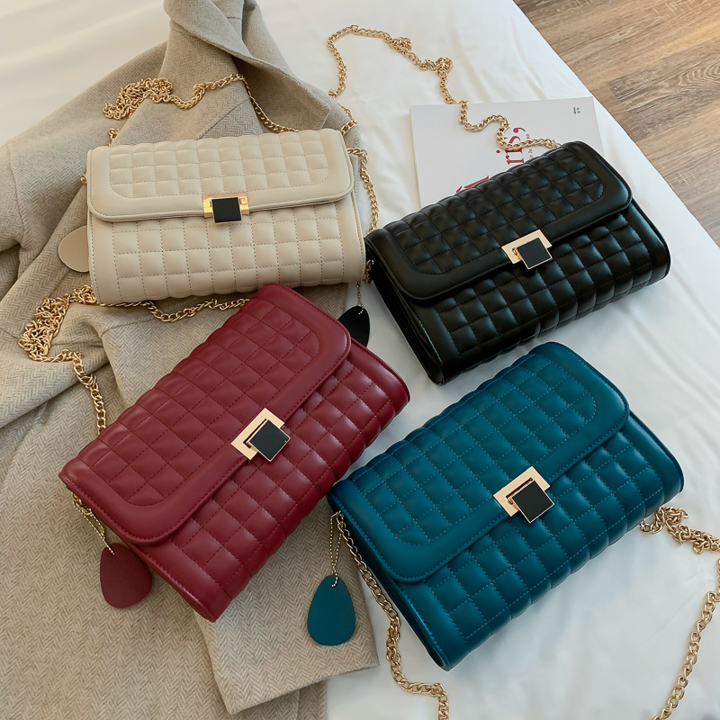 Fashion new handbags High quality PU leather Women bag Small incense wind chain Lozenge Shoulder bag Lock Stereotypes lattice 1 in Shoulder Bags from Luggage Bags
