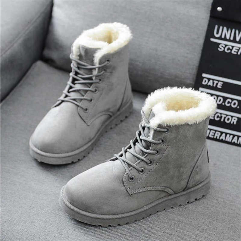 Women boots  2019 winter snow boots female boots Duantong warm lace flat with women shoes tide shoes F031 hot sale